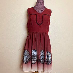 Hot Topic Burgundy Over The Garden Wall Dress